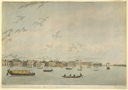 'South view of Chinsura'. Aquatint with etching by and after James Moffat, published Calcutta 1809. One of a set of views of Bengal and along the Ganges